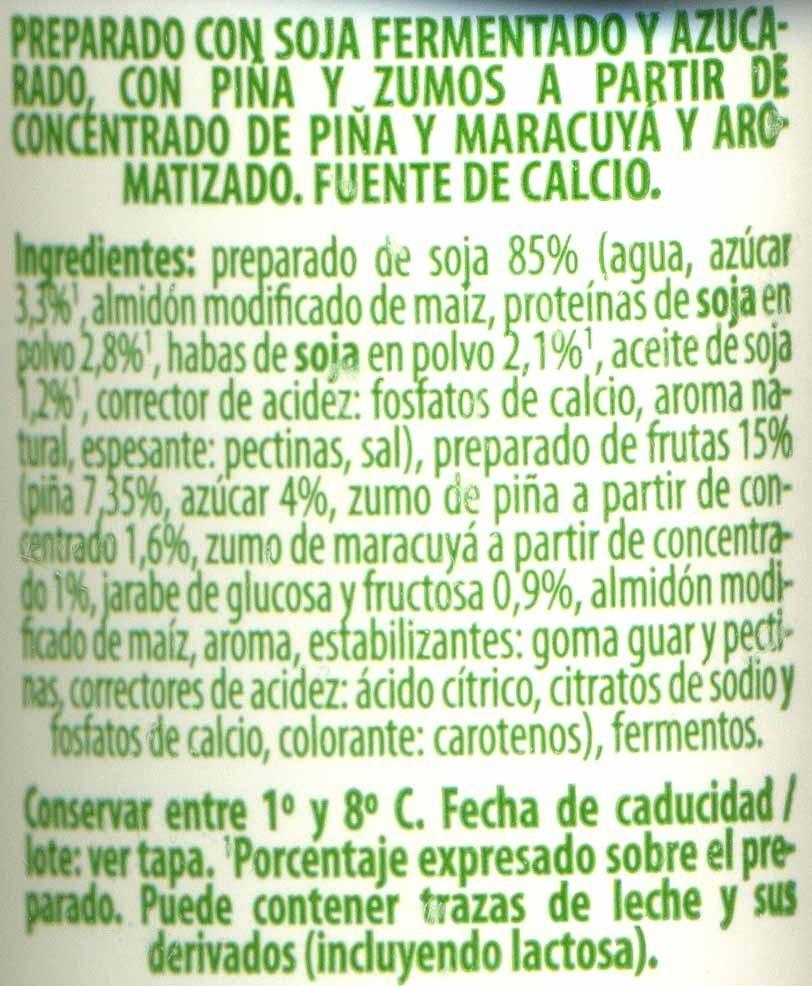Postre de soja Frutas amarillas - Ingredientes - es