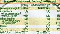 Postre de soja Frutas amarillas - Informação nutricional - es