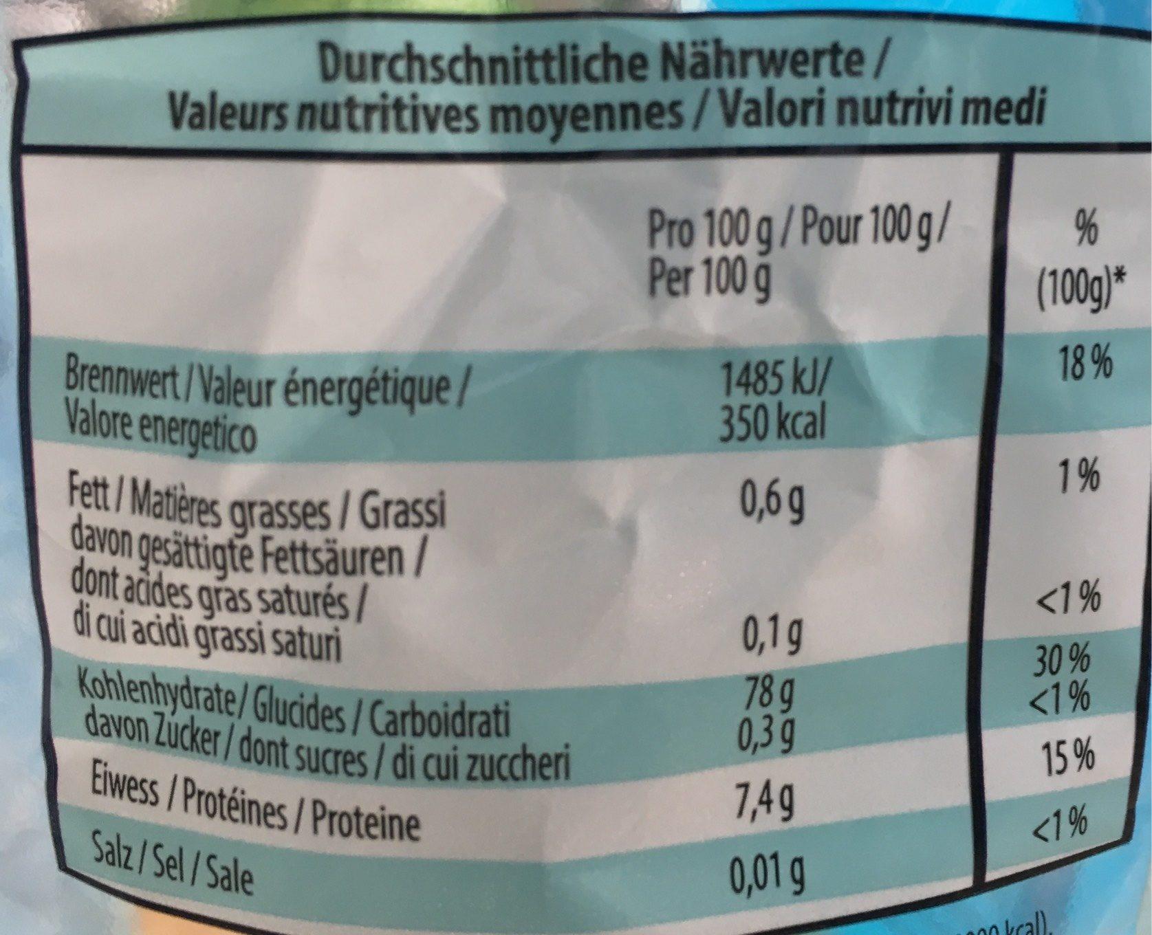 Alino Basmati Reis - Informations nutritionnelles