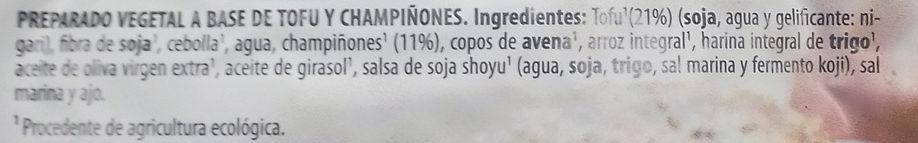 Veggieburger de Tofu y Champiñones - Ingredients