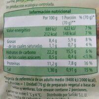 Veggieburger de seitán y verduras - Informació nutricional - es