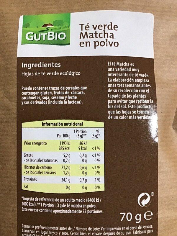 Té matcha en polvo GutBio - Informació nutricional