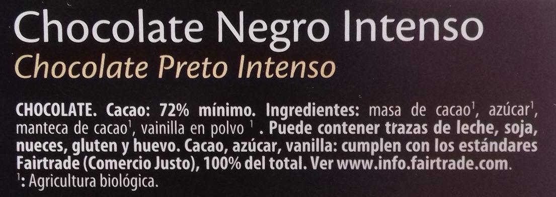 Chocolate negro intenso 72% de cacao - Ingredients