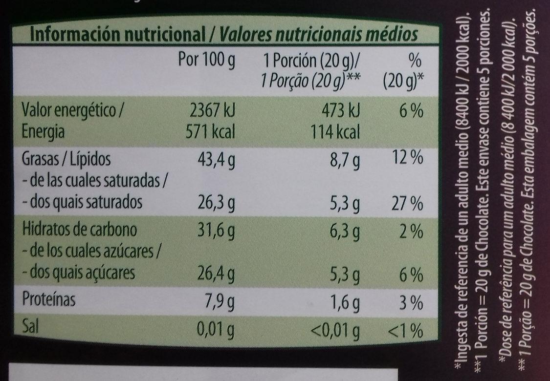 Chocolate negro intenso 72% de cacao - Informació nutricional
