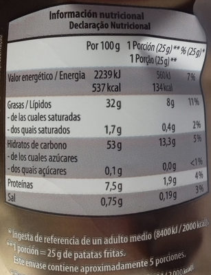 Patatas fritas con trufa negra - Información nutricional