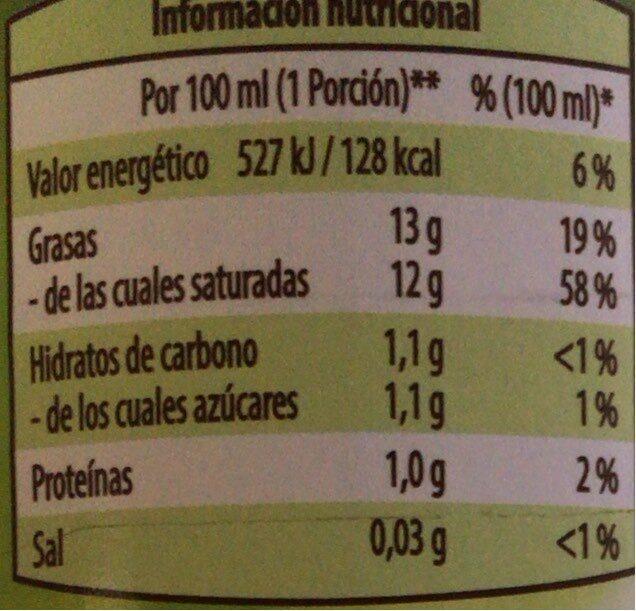 Leche de coco Light - Informations nutritionnelles - es