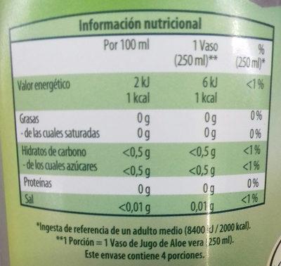 Jugo de Aloe vera con pulpa - Información nutricional