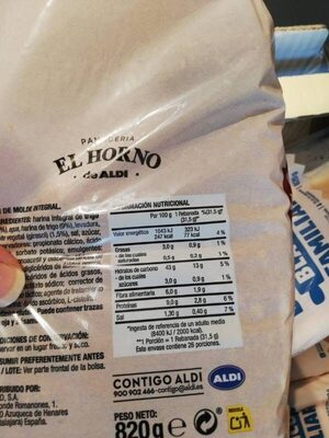 Pan de molde integral familiar - Informations nutritionnelles