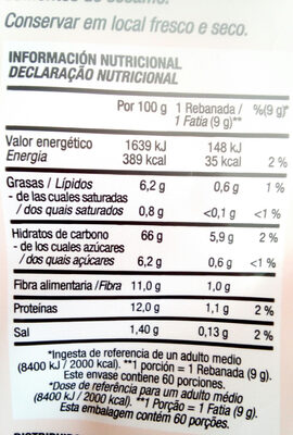 Tostadas Integrales - Nutrition facts