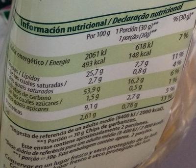 Chips de garbanzos ecológicos - Información nutricional