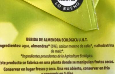 Bebida de almendra - Ingredientes - es