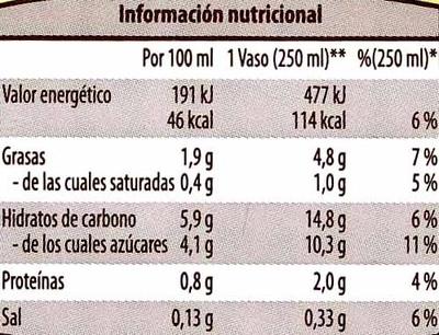 Bebida de almendra - Información nutricional - es