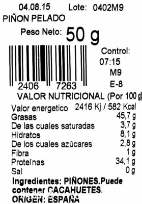 Piñón pelado nacional - Ingredients