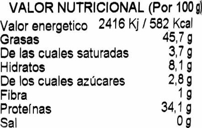 Piñones pelados - Información nutricional