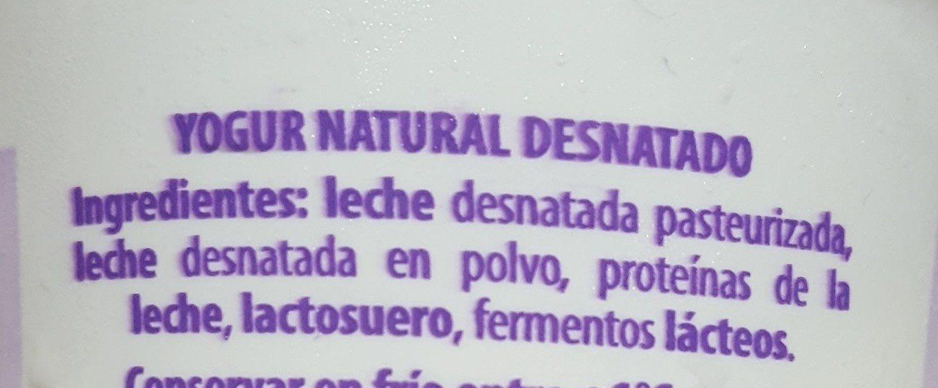 Yogur natural - Ingredientes