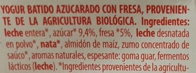 Yogur batido fresa/morango y platano/banana - Ingredientes - es