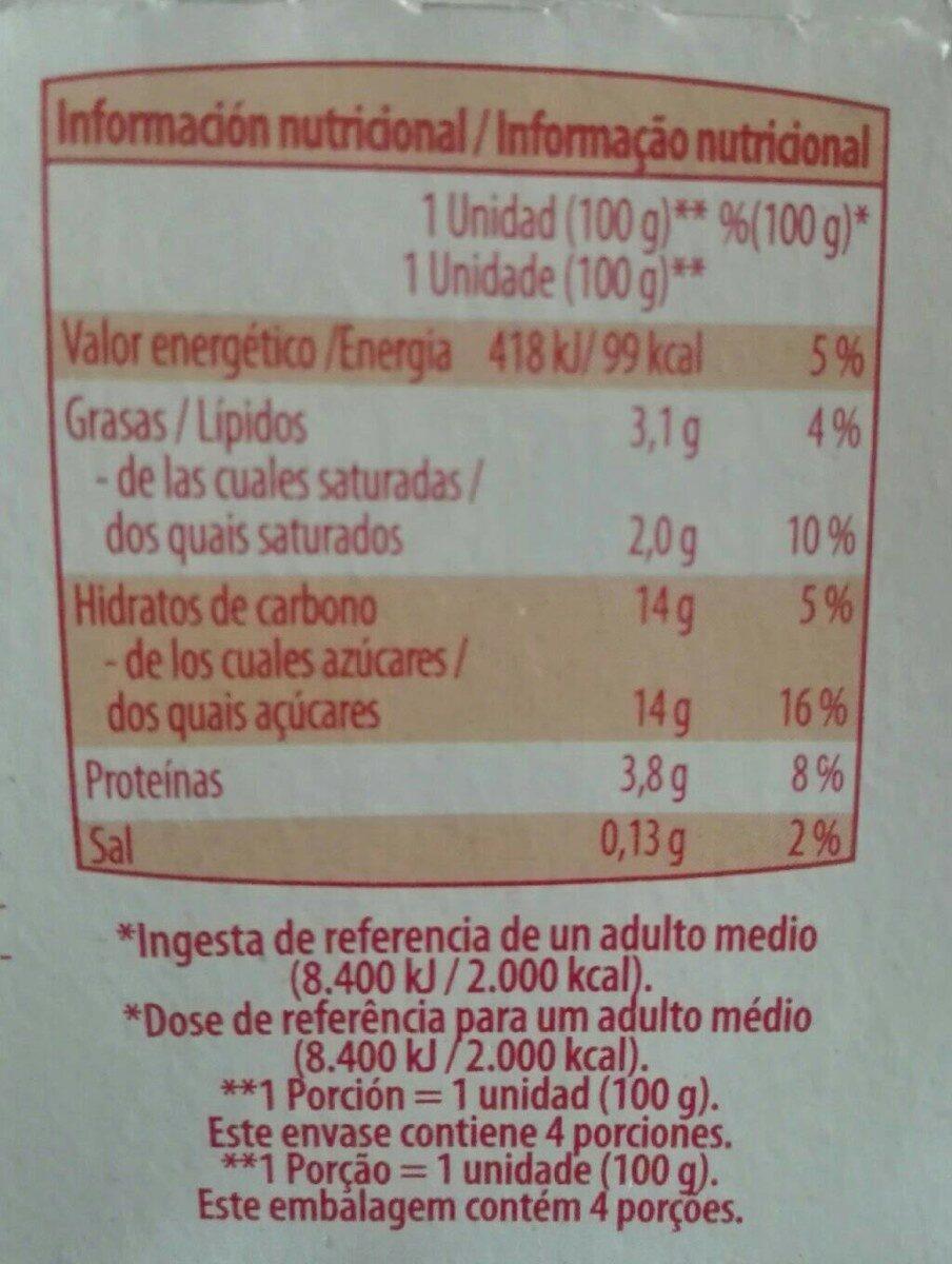 Yogur batido fresa/morango y platano/banana - Información nutricional - es
