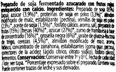 """Postre de soja """"Milsani"""" Frutos rojos - Ingredients"""