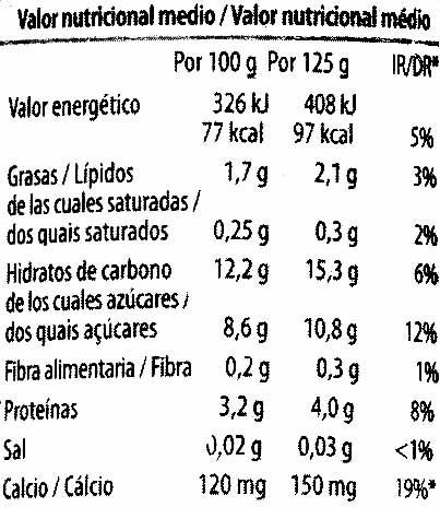 """Postre de soja """"Milsani"""" Frutos rojos - Información nutricional"""