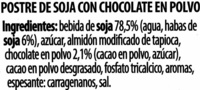 Postre de soja y chocolate - Ingredientes