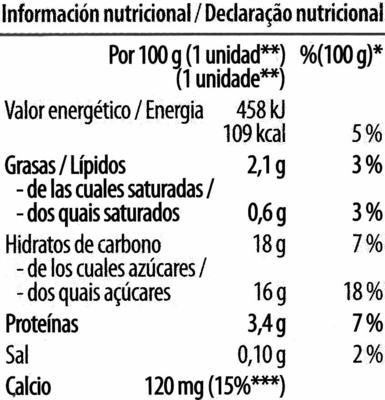 Soja y chocolate - Informations nutritionnelles