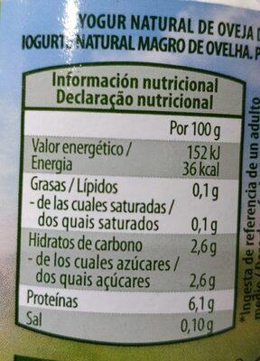 Yogur de oveja desnatado - Informations nutritionnelles