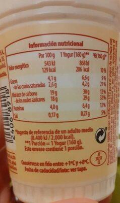 Yogur de vainilla con grageas - Voedingswaarden