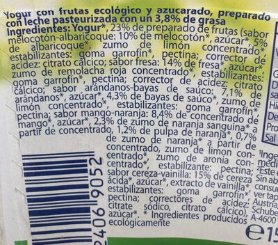 Iogurte biologico com frutos - Ingredients