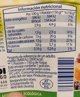 Yogur con frutas - Informação nutricional - es