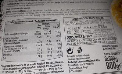 3 Pizzas Margarita - Informations nutritionnelles