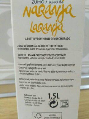 Zumo De Naranja - Ingredientes