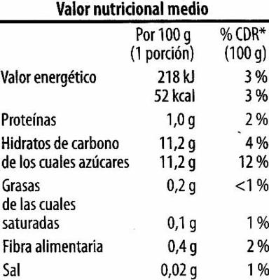 "Piña congelada ""Golden Fruit"" - Informació nutricional"