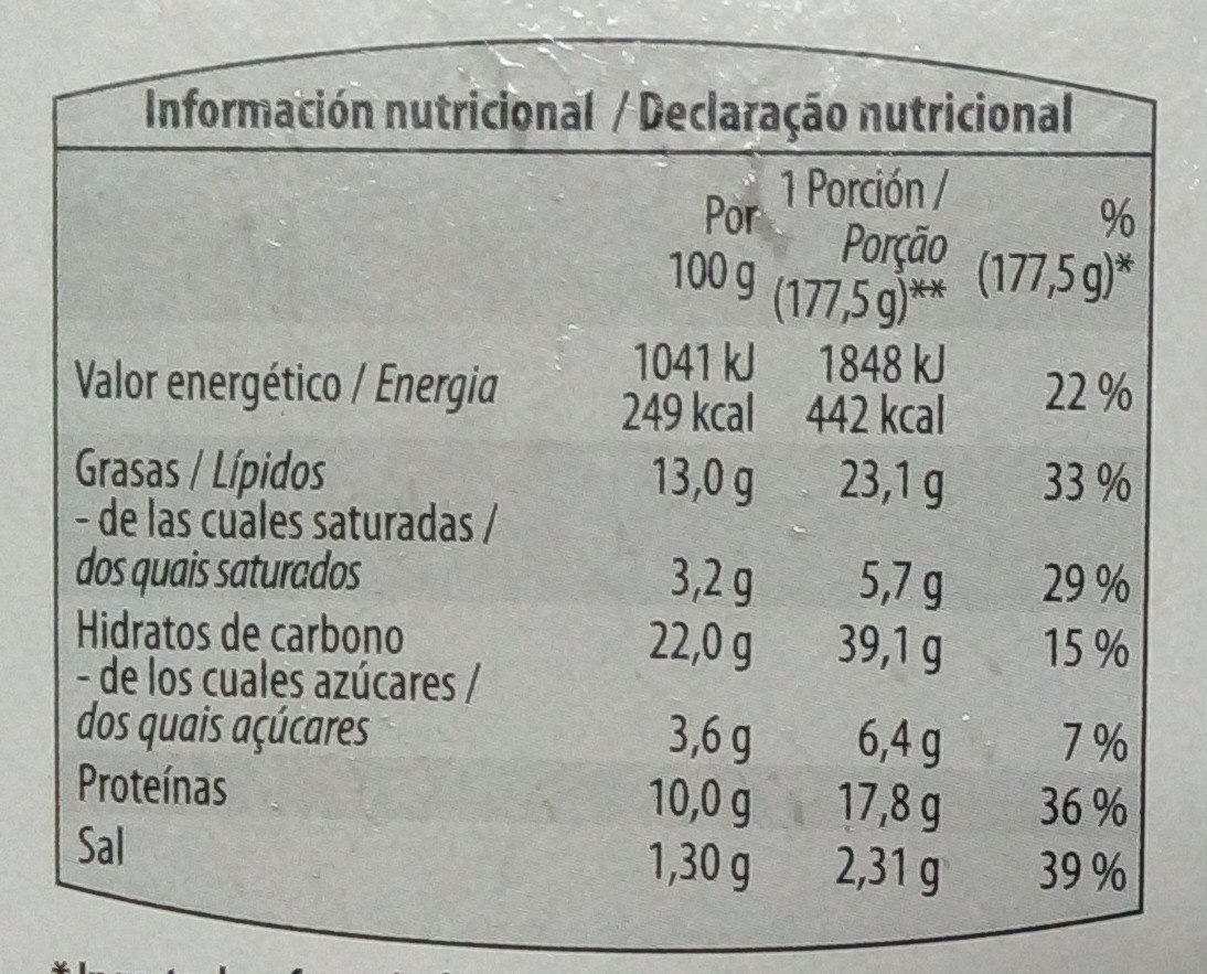 Pizza Atún Masa Fina - Nutrition facts