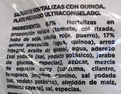 Salteado de Hortalizas & quinoa - Ingredients