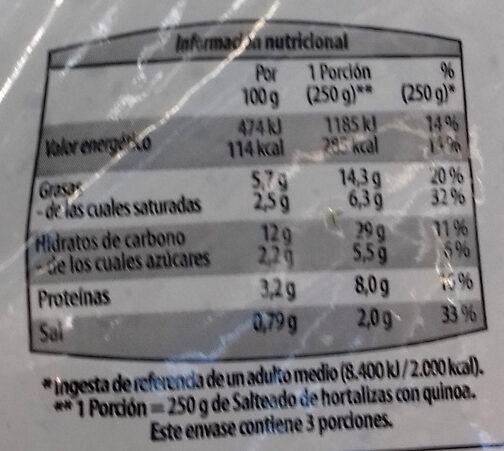 Salteado de Hortalizas & quinoa - Nutrition facts