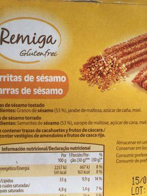 Barritas de frutos secos - Ingrédients - fr