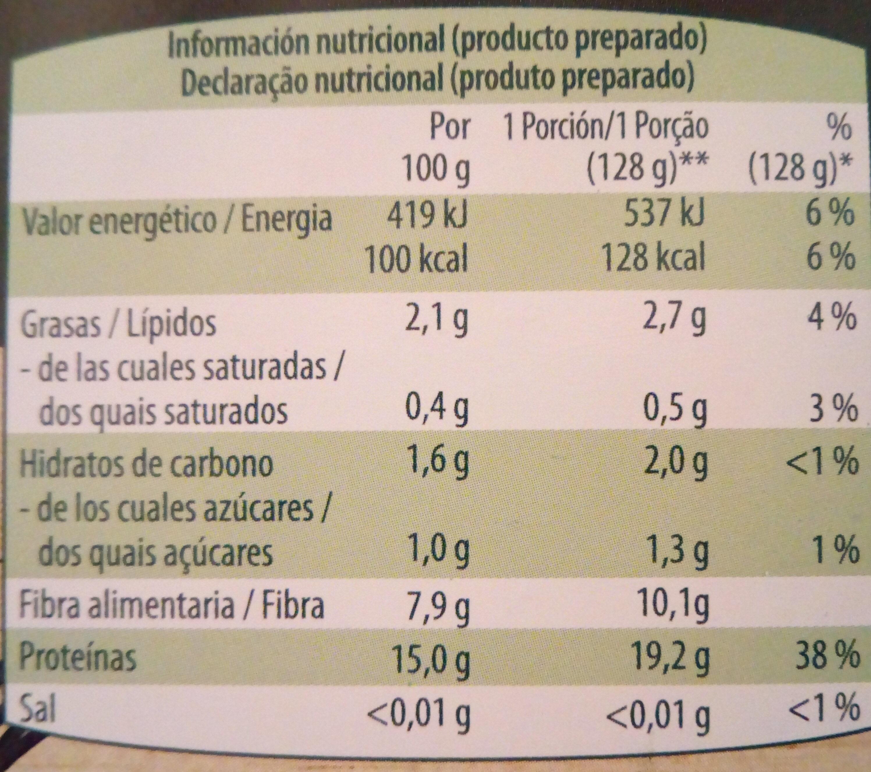 Espaguetis de edamame - Nutrition facts - es