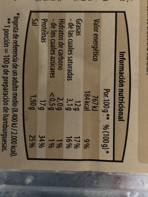Hamburguesa de pollo y queso - Nutrition facts