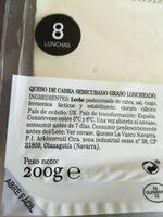 Queso cabra en lonchas - Informació nutricional - es