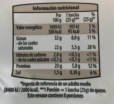 Queso oveja en lonchas - Informació nutricional
