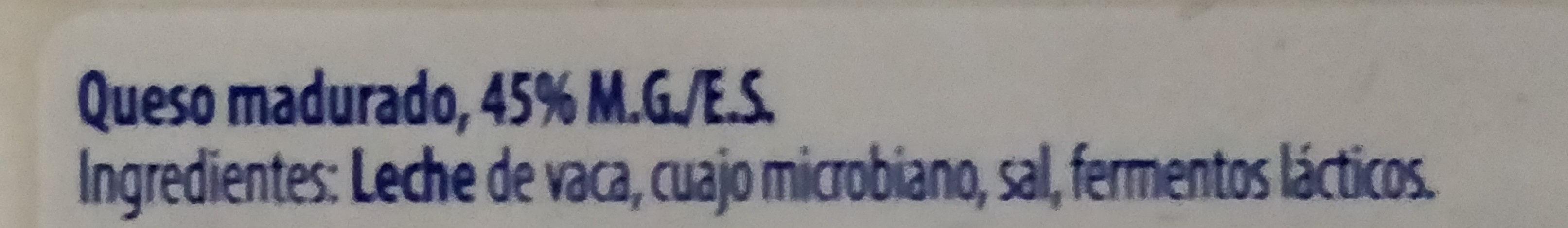 Queso madurado - Ingredientes