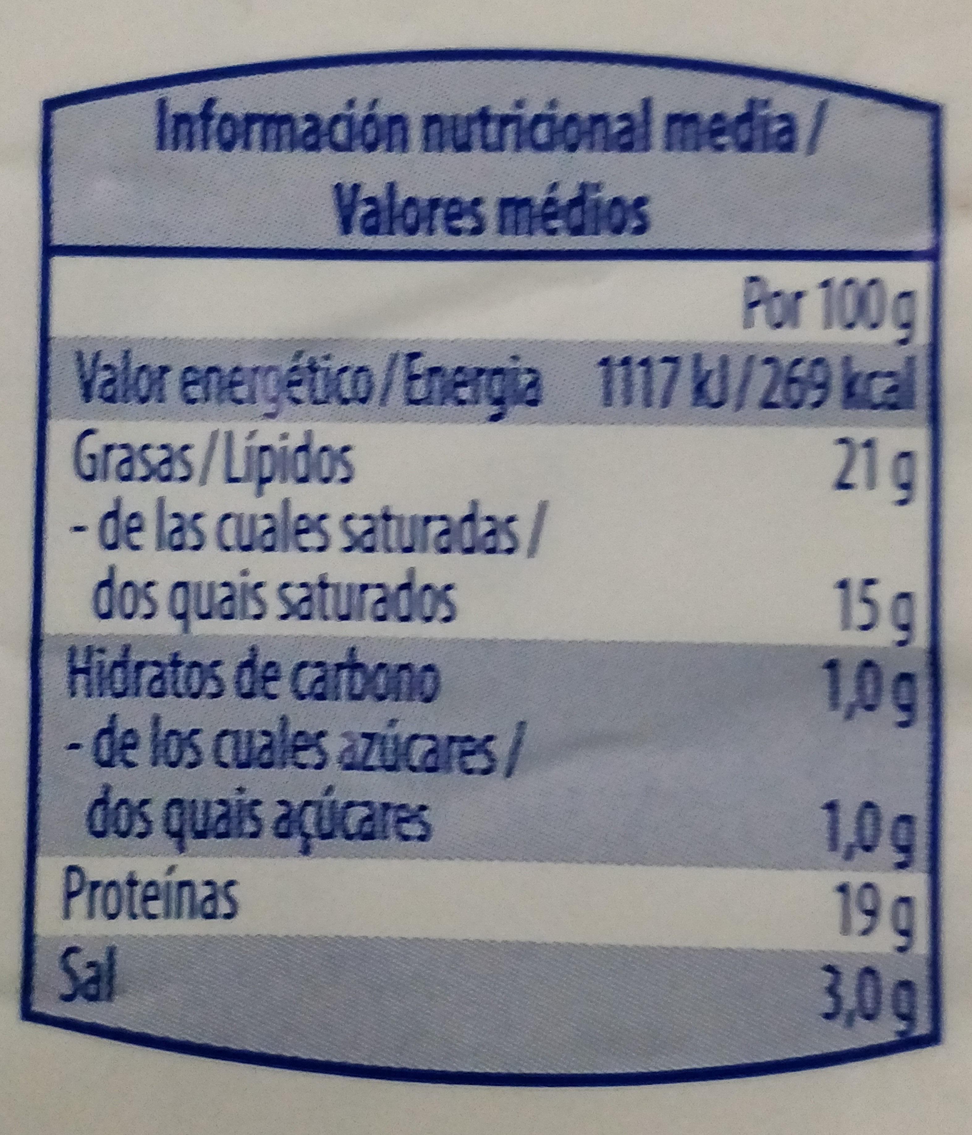 Queso madurado - Información nutricional