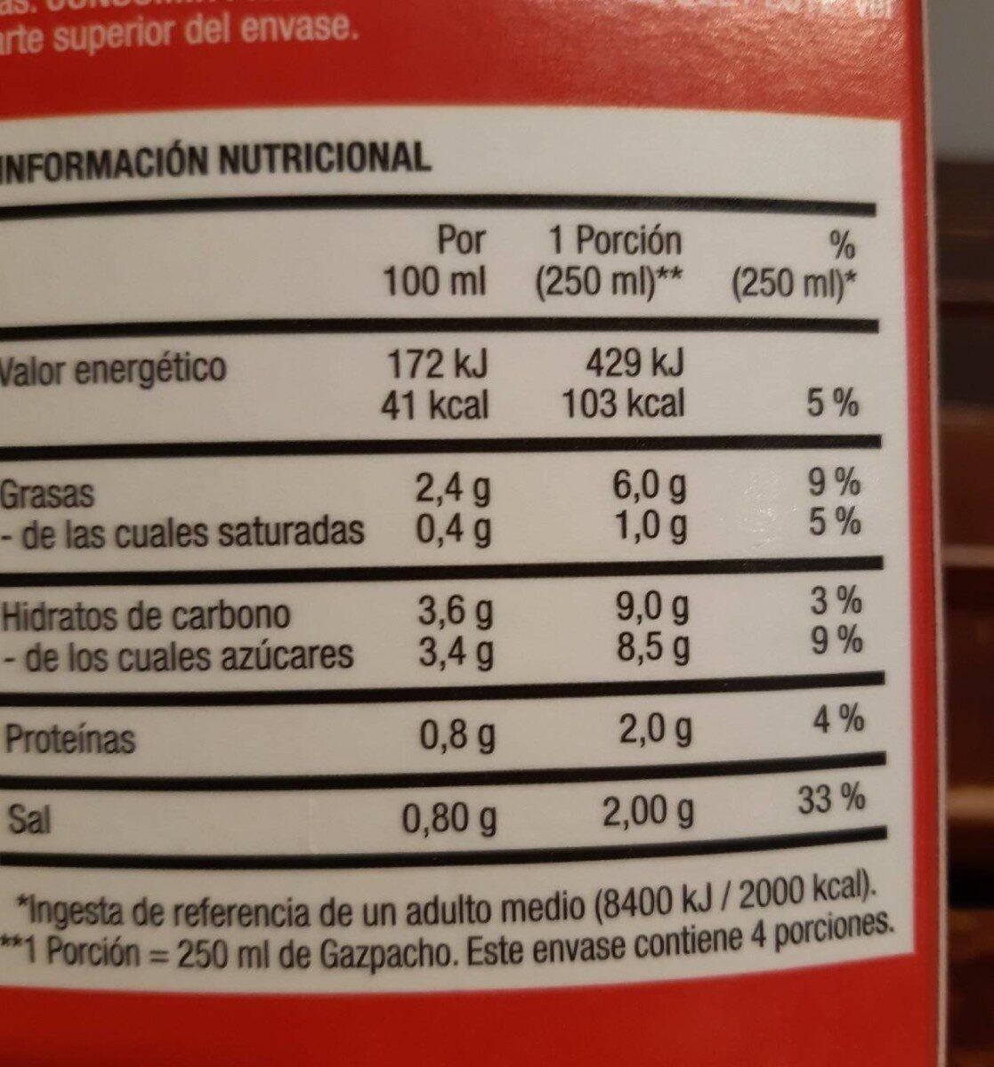Gazpacho tradicional - Nutrition facts - fr