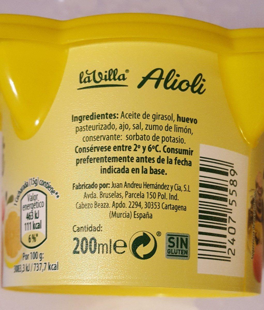 Alioli - Ingredientes - fr