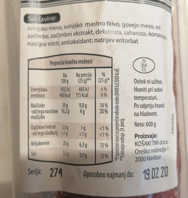 Domača salama - Nutrition facts