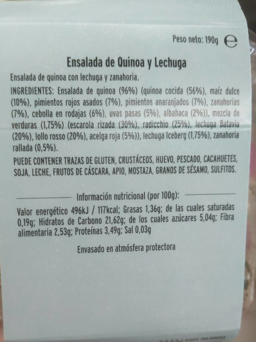 Quinoa verduras - Informations nutritionnelles - es