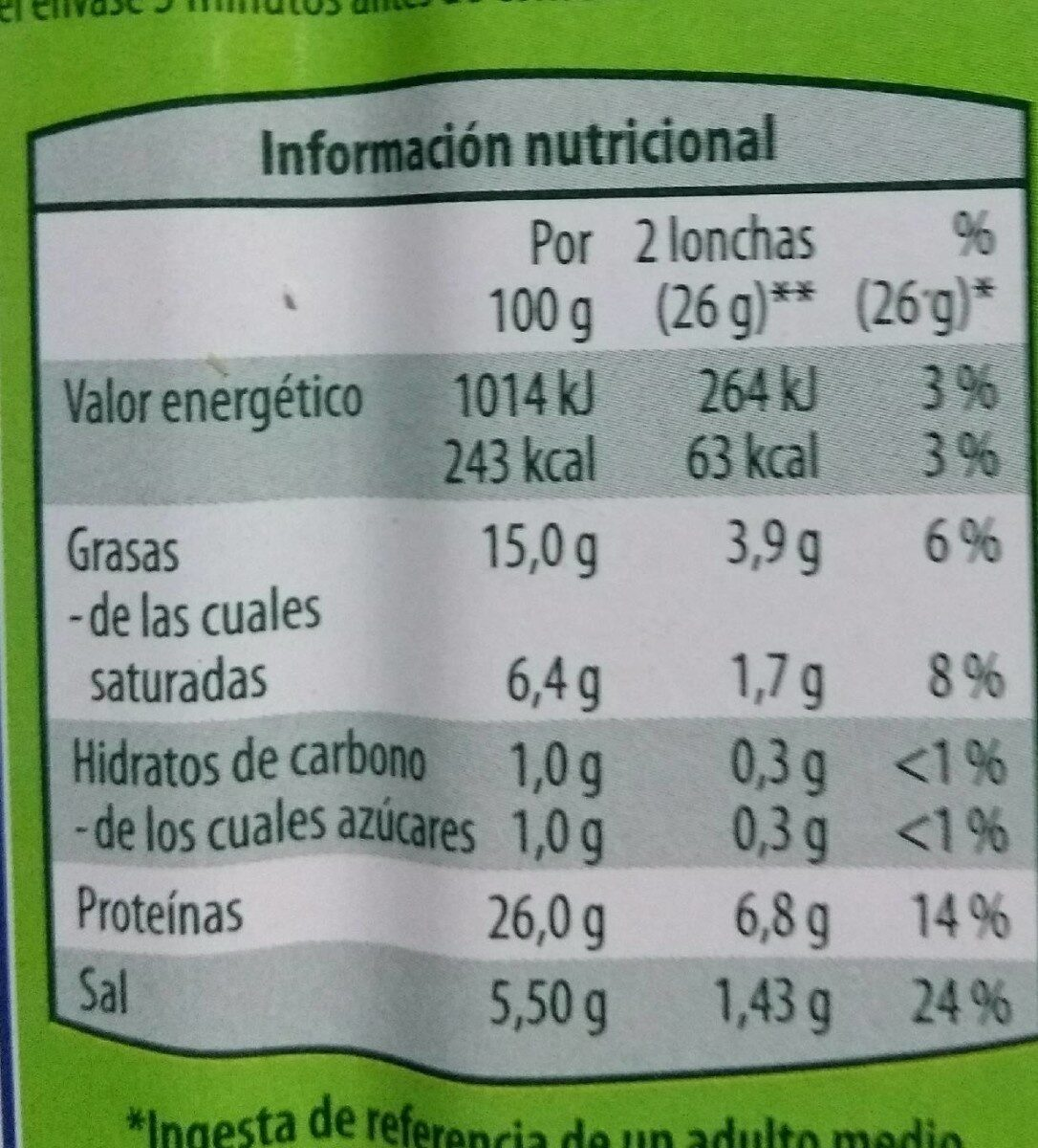 Jamón - Informació nutricional - es