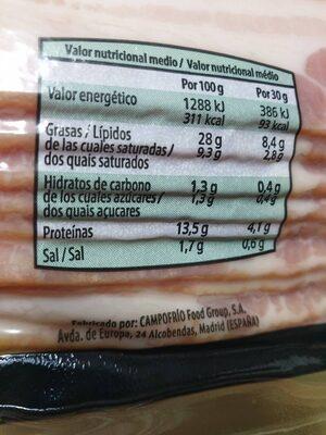 BACON/LONCHEADOS COCIDOS - Información nutricional - es