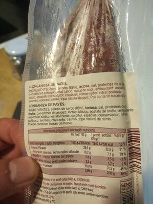 Llonganissa de pagès - Ingrediënten - es