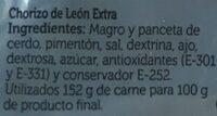 Chorizo de León picante - Ingredients